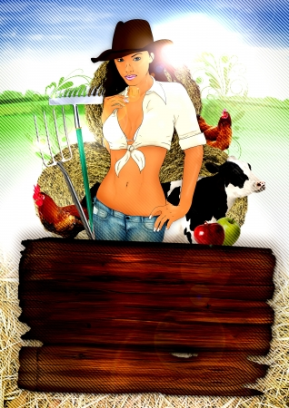 bowery: Country farm party poster background with sexy cowgirl