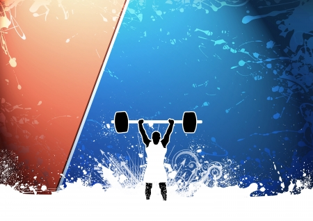 lifter: Abstract grunge Weight lifter background with space Stock Photo