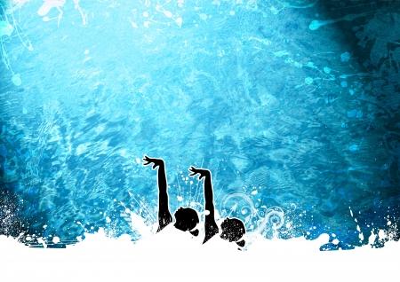 natación sincronizada: Resumen grunge fondo natación sincronizada con el espacio Foto de archivo
