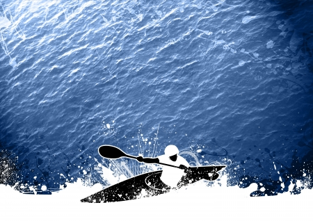 adrenaline rush: Abstract grunge Slalom kayak background with space