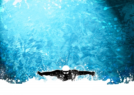 Abstract grunge Swimming man background with space photo