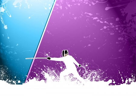 swordsman: Abstract color grunge Swordsman background with space Stock Photo