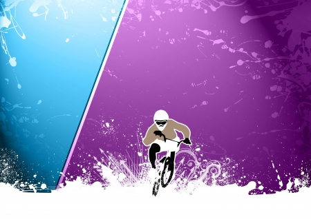 summer tires: Abstract grunge BMX cyclist sport background with space
