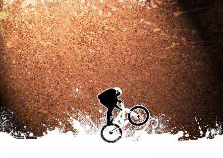 fmx: Abstract grunge BMX cyclist sport background with space