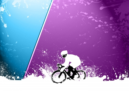 Abstract grunge speed bicycle sport background with space photo