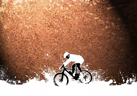 mountain biker: Abstract grunge mountain bike sport background with space Stock Photo