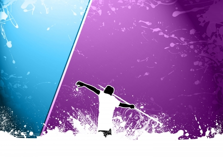 javelin throw: Abstract grunge javelin throw background with space Stock Photo