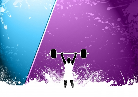 Abstract grunge Weight lifter background with space photo