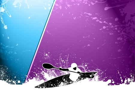 whitewater: Abstract grunge Slalom kayak background with space