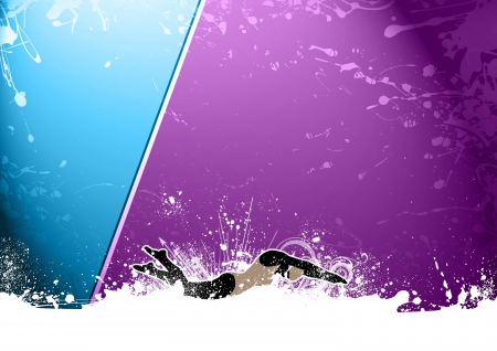 Abstract grunge Swimming woman background with space photo