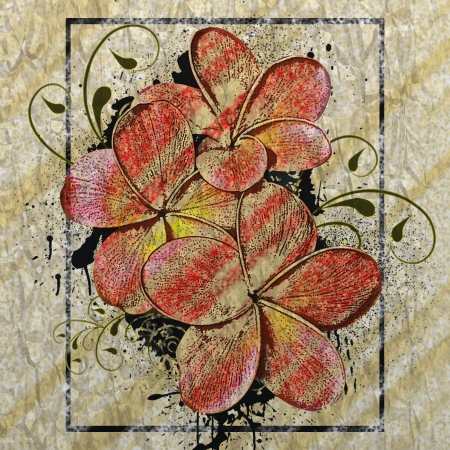 Grunge drawing color flower old paper background  photo