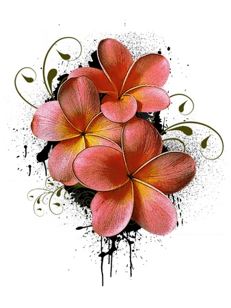 japanese culture: Grunge color flower poster background with space