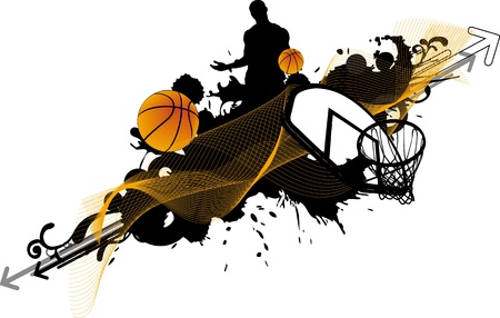 Abstract color basketball man and ball poster background withs space Stock Photo