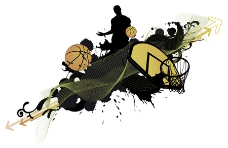 Abstract color basketball man and ball poster background withs space photo