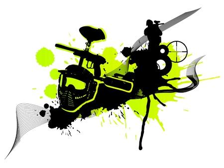 paintball: Abstract green paintball art