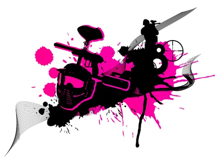Abstract pink paintball art