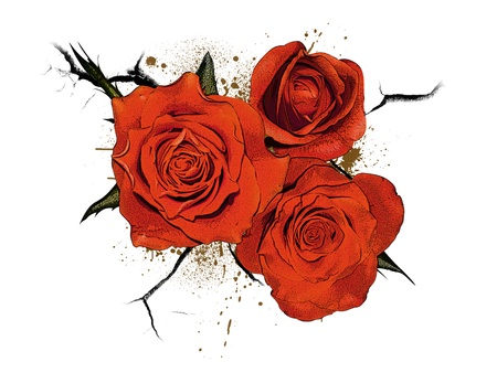 ico: Abstract grunge color rose flower poster background