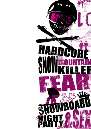 Extreme snowboard poster background with space photo