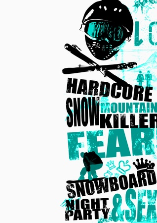 Extreme snowboard poster background with space Stock Photo - 17222996