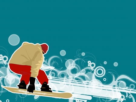 Winter sport poster: man and snowboard background with space photo
