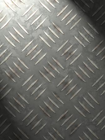 treadplate: metal plate enlightening for background (wallpaper, leaflet, newspaper...) Stock Photo