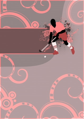 Grass hockey sport poster background with space photo