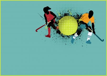 hockey cesped: Grass deporte hockey cartel de fondo con espacio