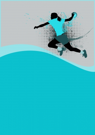 Girl handball sport poster background with space