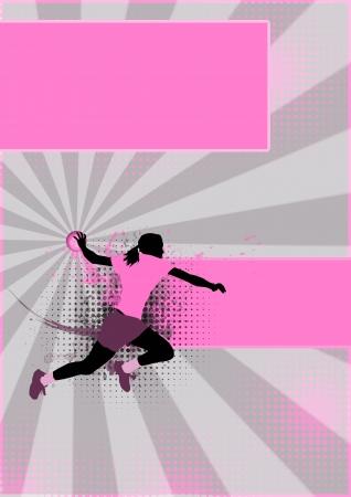 Mädchen handball sport poster background mit Platz Standard-Bild