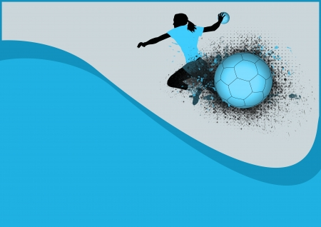handball: Girl handball sport poster background with space