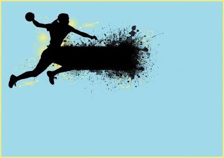 Mädchen handball sport poster background mit Platz