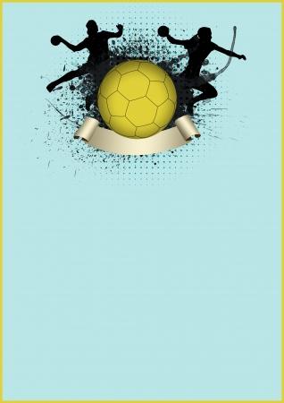 balonmano: Chica balonmano deporte fondo del cartel con el espacio Foto de archivo