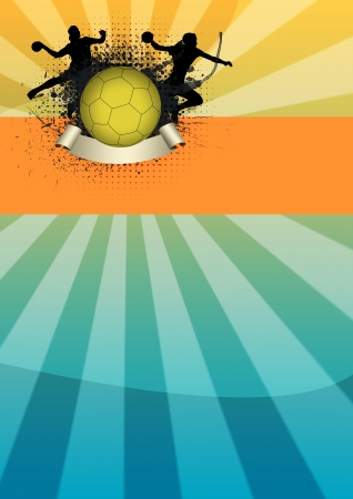 Girl handball sport poster background with space photo