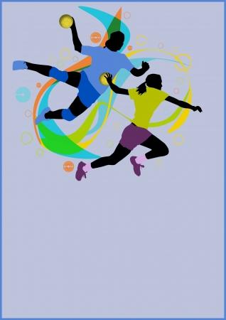 Fille de handball poster background sport avec l'espace