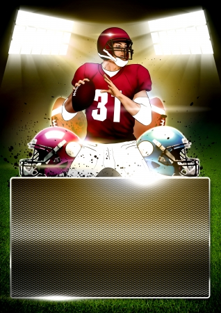 American football poster or flyer background with space