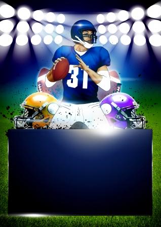 metaal: American football poster of flyer achtergrond met ruimte