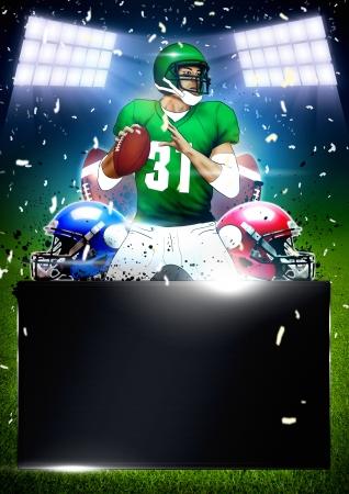 banni�re football: Affiche de football am�ricain ou le fond d�pliant avec l'espace
