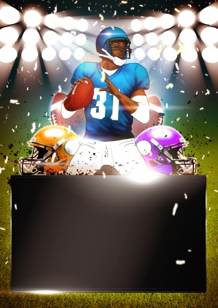 touchdown: American football poster or flyer background with space