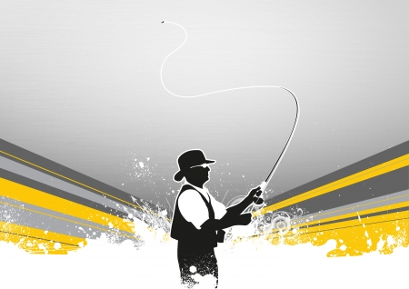 Fishing man poster or flyer background with space photo