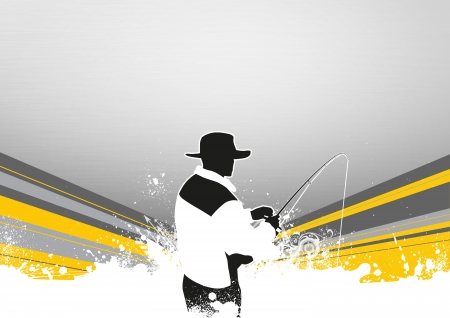 Fishing man poster or flyer background with space Stock Photo - 17925136