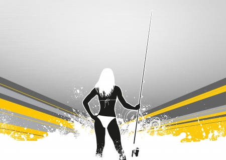 fishman: Fishing woman  poster or flyer background with space Stock Photo