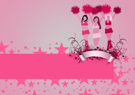 pom pom: Abstract cheerleader girl poster or flyer background with space Stock Photo