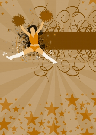 Abstract cheerleader girl poster or flyer background with space photo