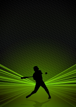 Sport business poster: Baseball player background with space photo