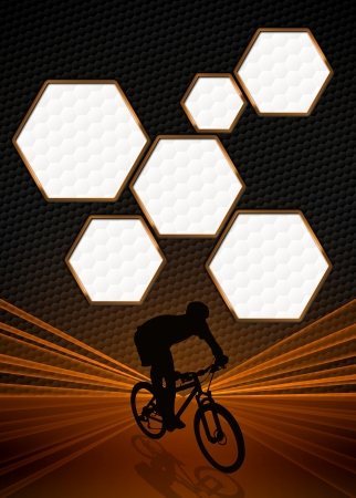 Sport business poster: bike and man background with space photo