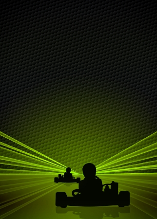 Race poster: man and gokart background with space photo
