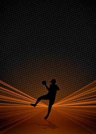 balonmano: Mujer de Balonmano cartel de negocios o de fondo volante con espacio Foto de archivo