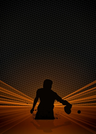 Sport business poster: table tennis player background with space photo