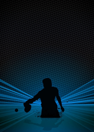 ping pong: Cartel Deporte y negocio: tenis de mesa jugador fondo con el espacio