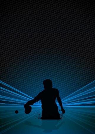 tischtennis: Sport Business Plakat: Tischtennisspieler Hintergrund mit Platz